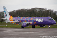 Flybe's Embraer ERJ-195 G-FBEJ (Welcome to Yorkshire livery) taxiing to stand at Cork Airport (James O' Sullivan) Tags: flybe corkairport cork ireland canon canon450d canonphotography canoncamera canonaviation canonireland photography photo photooftheday daily flickr flickrexplore aviation aviationphotography avgeek