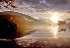 Misty mountain view (Ade Ward Phototherapy.) Tags: sigma nikon sun fog sunrise water lake scenery scenic landscape cymru wales northwales snowdonia llynpadarn mountains morning misty
