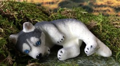 Tired wolf (Foxy Belle) Tags: wolf animal diorama miniature fairy tale plants grass