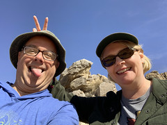 The cat herder is now the cat (backbeatb00gie) Tags: selfie me wife vacation joshuatreenationalforest fun silly couple ipone dorks