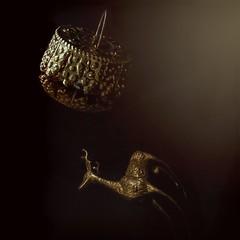 Oh Deer (clarkcg photography) Tags: christmasornament bulb ornament glass statue metal gold deer stag reflection macromondays
