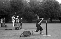 Potential (odeleapple) Tags: pentax spotmatic sp supertakumar 55mm kodaktmax400 film monochrome analog bw baseball batting kid