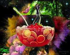 Art: Fruit punch - Color explosion. By Silviane Moon. (Silviane Moon) Tags: drinks cheers frutas silvianemoon surreal surrealism cherry fruits punch legsexy digitalcollage surrealcollage limon ponche fruitpunch orange strawberry bebidas cerejas morangos giphy universe universo explosion explosioncolor painting nature stars violetcolor depernasproar
