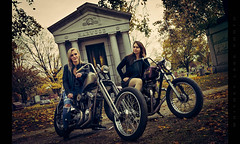 A Terminal Fascination (Whitney Lake) Tags: bikers death women girls bobbers choppers motorcycles bikes mausoleum cemetery graveyard chelsea katerina