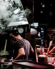 Ramen (ByteForByte) Tags: street nyc newyorkcity food ny newyork manhattan flames streetphotography meat grill ramen japanesefood fuji fujifilm