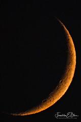 Low Sky Crescent Moon (franklin331) Tags: artemis atmosphericlens bendis bliss blissphotographics blissdinosaurranch borderlands crescent crescentmoon distortededge frankbliss franklinebliss luna montana moon night nightsky science sciencesunday sculptedmoonedge sundayread wyoming