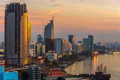 ho chi minh city (Greg M Rohan) Tags: boats sky clouds water architecture buildings building skyscrapers skyscraper skyline sunset city cityscape saigon hochiminhcity vietnam asia d7200 nikon nikkor