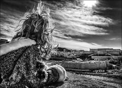 Mistral divin... / Divine wind... (vedebe) Tags: ville vieuxport city rue street urbain urban noiretblanc netb nb bw monochrome humain human people enfant notredamedelagarde merméditerranée mer mistral vent nuages marseille paysages ports port provence