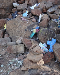 A Way to Say Sorry (mikecogh) Tags: myallcreek nsw sorry crosses stones rocks cairn