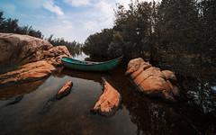 Rocky stream (Cadicxv8) Tags: landscape lake sky boat rock stream hococ vietnam