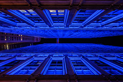Buildings in Blue (onefivefour) Tags: blue lights fidi manhattan nyc trinity realty building night dark