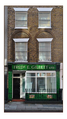 SHOPFRONT SIGNAGE FOR FRED GILLETT LTD. (StockCarPete) Tags: shopfront shop fredegillett signage tiles greentiles ghostsign lettering typography londonlettering closed closedforbusiness exretail london uk