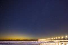 South Haven Stars (Notkalvin) Tags: southhaven lighthouse stars longexposure sunset bluehour outdoors nopeople notkalvin mikekline lights pier lakemichigan winter snow ice frozen cold bigsky sky copyspace reflections