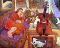 Interior 20191110 (danielborisheifetz) Tags: art painting portraiture portrait music cello cellist paintings oil interior