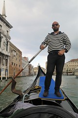Unvoidable in Venice... A gondola ride ! (Sokleine) Tags: gondola gondole boat cruise balade trip canal water tradition tourism venezia venice venise italia italie italy europe gondolier homme man