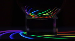 in the night (Elisabeth patchwork) Tags: macromondays reflection 20191111 rainbow curves lines black glass