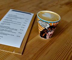 Jádro café, Brno (Debarshi Ray) Tags: czech brno summer city cafe jádro královopole purkyňova canon canoneos70d tamron tamronaf18270mmf3563 coffee brown white table furniture furnishings drinks cup