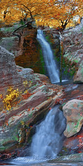 Anthochori falls vertical Panorama (Dimitil) Tags: adventure agrafa agrafamountains anthochori anthohori autumn autumncolors autumnalcolors floweffect foliage forest gorge gorges greece hdr hellas karditsa landscape mountain nature pano panorama rocks thessaly vegetation water waterfall waterfalls waterscape