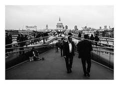 FILM - St. Paul's (wide) (fishyfish_arcade) Tags: 35mm 800asa acros analogphotography bw blackwhite blackandwhite filmphotography filmisnotdead fujifilm istillshootfilm london monochrome olympusom1 zuiko28mmf35 analogcamera film mono pushed streetphotography stpaulscathedral milenniumbridge