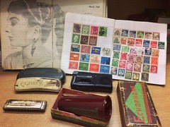 Some old stuffs of my father. (zerin0404) Tags: old father memories hobby stuff bangladesh stilllife stamps sketchbook harmonica antiques