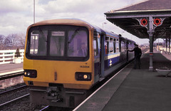 Morpeth 143004 Morpeth to Newcastle 25th March 89 C11731 (DavidWF2009) Tags: ecml northumberland morpeth class143