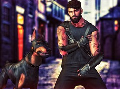 [ 📷 - 166 ] (insociable.sl) Tags: street assassin ink tattoo beard doberman animal dog knife mercenary model boy man male edit sl secondlife amias magnificient