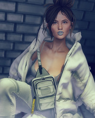 Antarctica (♛ Baronne ♛) Tags: secondlife mademoiselle avatar fr pic picture photograp fashion look style mode model mad lips lipstick arty genus applier original white puffer coat coco thrive crossbag tetra tableauvivant beauty cleavage fierce pants bun cold icy antarctica accessories accessoires accessory iconic street urban piece frost makeup art sl 3d game