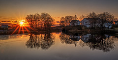 Vormedal, Norway (Vest der ute) Tags: xt20 norway rogaland karmøy vormedal water waterscape reflections mirror sunset lateafternoon trees sky clouds houses fav25 fav200