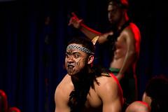 Maori Dance from New Zealand (aaronrhawkins) Tags: maori dance face paint luau polynesian culture man mean intimidate mad angry shadows student byu brighamyounguniversity performance stage dark warrior war haka chant newzealand provo utah aaronhawkins