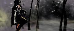 Caught in the rain (gargantuela) Tags: coco jessposes gargantuela rain hiatus shoes jacket trees hat vivenine locktuft avatar sl secondlife virtual virtuallife night fog necklace maxidress