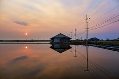 The salt flats (grantthai) Tags: thailand salt farms water reflection hut storage sand silt sky sunrise dawn industry production morning