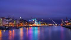 Samuel Beckett bridge (karinavera) Tags: city longexposure night photography cityscape urban ilcea7m2 sunset samuelbeckettbridge dublin ireland
