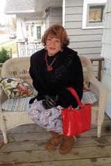 Bundled (Laurette Victoria) Tags: coat auburn gloves purse leggings boots woman laurette porch