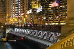 Michigan Avenue Bridge, at Night (rjseg1) Tags: michiganavenue bridge chicago flag river city urban