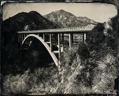 Upper Big Tujunga Canyon Bridge - Tintype (Silver and Iron Tintype) Tags: wetplatecollodion epsonv700 alternativeprocess altprocess angelesnationalforest bridge tuttifrutticollodion uvpx newguypositivecollodion largeformat 8x10 senecaimprovedview8x10 tintype alumitype kodakcommercialektar 85inchkodakcommercialektar