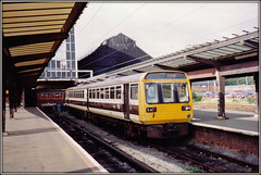142024, Preston (Jason 87030) Tags: pacer skipper noddingdonkey leyland design bus tren train wheels cream brown great western color colours preston station september 1992 scan britishrail tracks platform shot visit