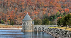 Saville Dam gatehouse (Bob Gundersen) Tags: bobgundersen robertgundersen gundersen nikon nikoncamera infrastructure interesting image picture scenes hydro building dam flickr architecture catchycolors yellow green grey bridge country foliage historical lake newengland old places red shots shoreline tree water engineering landscape orange usa photo autumn gray outside outdoor leaf nikkor nikond850 d850 scene ©bobgundersen