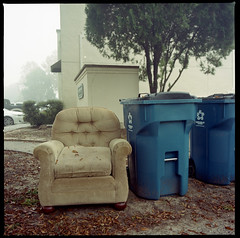 2019-11 H C R02 003 (kccornell) Tags: hasselblad color 120 6x6 film louisiana kodak 400 500c medium format portra trash garbage chair can lafayette gordon