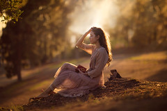 Summertime ({jessica drossin}) Tags: jessicadrossin dress sunlight backlight portrait summer trees flare orange brown wwwjessicadrossincom