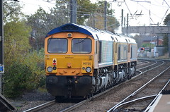 66720, 66742 & 66782 at Morpeth (stephen.lewins (1,000 000 UP !)) Tags: sheds class66 66720 66742 66782 morpeth railways ecml northumberland gbrf