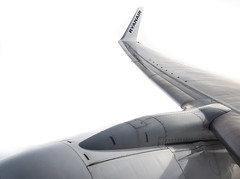 Wing tip, Ryanair. (CWhatPhotos) Tags: cwhatphotos flickr airplane wing tip ryanair flight sky