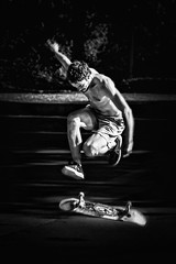 Skateboarder in Strasbourg - France (Patrik S.) Tags: skate board skateboard bw blackandwhite black white sony alpha a7iii a7m3 strasbourg france day park training fun riding ngc guy side kick flying shadow sun muscular blurry stairs man sport having watching fast forwards balance young