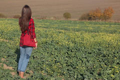 Her World (Pavlo Kuzyk) Tags: girl shirt bag jeans cabbage field nature autumn fall canon