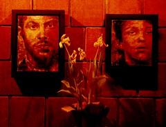 Soirée funèbre ... (Robert M. ( en pointillés ... )) Tags: sébastienmaltais encaustique toile peinture staline lumière