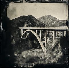 Upper Big Tujunga Canyon Bridge (Silver and Iron Tintype) Tags: wetplatecollodion epsonv700 alternativeprocess altprocess angelesnationalforest bridge tuttifrutticollodion uvpx newguypositivecollodion tintype alumitype holga120n 6x6 toycamera plasticfantastic