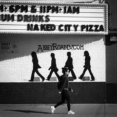02469376423083-118-19-11-Walking Abbey Roads LV-1-Black and White (Don't Mess With Jim) Tags: 2019 america art fremontstreet fujifilmxt30 fujifilmxf1855mmlens lasvegas nevada november people streetphotography thebeatles usa autumn downtown fall walking monochrome blackandwhite