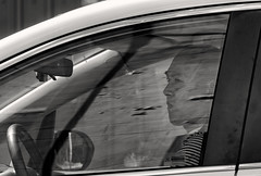 'Observation' (Canadapt) Tags: man driver auto car window glass reflection frame bw toronto canadapt