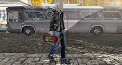 Travel and Beer... (ThiegoFire) Tags: codex colorful albino locktuft ad men man boy guy bus signature light male outside handsome sidewalk sun sunset street sl secondlife photo photography mancave
