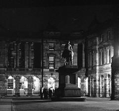 Edinburgh Parliament Square (richardjholt) Tags: edinburgh night hasselblad ilford delta3200 film bw 60mm 6x6 120film