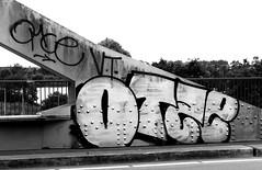 Graffiti in Amsterdam (wojofoto) Tags: amsterdam nederland netherland holland graffiti streetart wojofoto wolfgangjosten throw throwup throwups otse amsterdamsebrug flevopark blackandwhite monochrome zwartwit